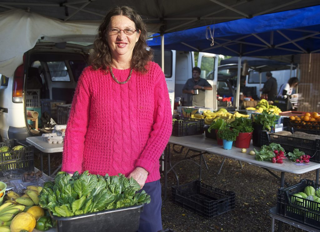Glenyce Creighton at her organic produce stall at the New Brighton Farmers Market