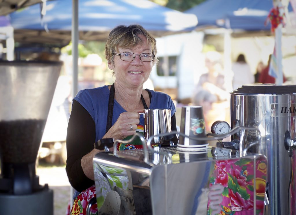 Michelle Clarke of Bangalow Coffee at her stall at the New Brighton Farmers Market.